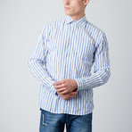 Long-Sleeve Pinstripe Button-Up // White + Blue (S)