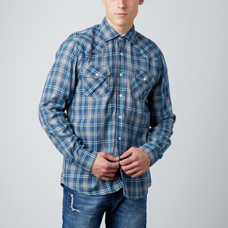 Long-Sleeve Plaid Button-Up // Blue + Indigo (S)