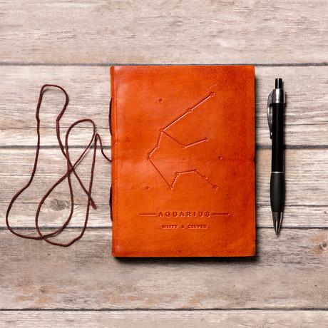 Handmade Leather Journal // Aquarius