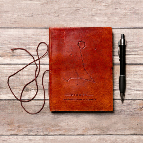 Handmade Leather Journal // Pisces