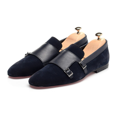 Double Monk Mixed Texture Loafer // Navy