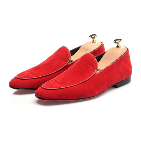 Piped Smoking Slipper // Red