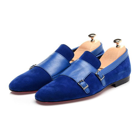 Double Monk Mixed Texture Loafer // Dark Blue