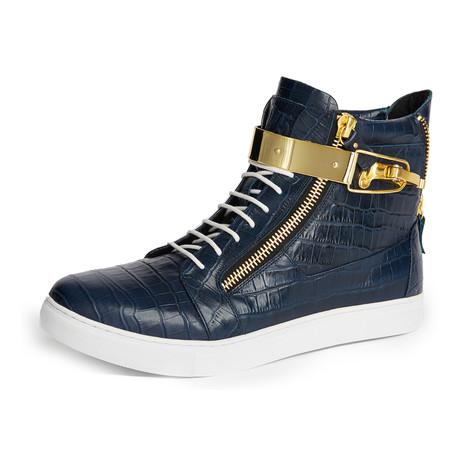 Zeus Snake High-Top Textured Sneaker // Navy