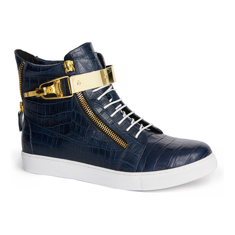 Zeus Snake High-Top Textured Sneaker // Navy (US: 7)