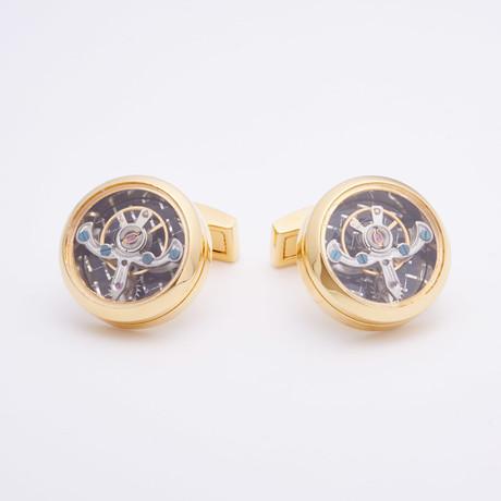 Quartz Watch Cufflinks // Goldtoned Jewel