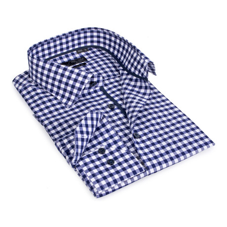 Gingham Button-Up // Navy (S)