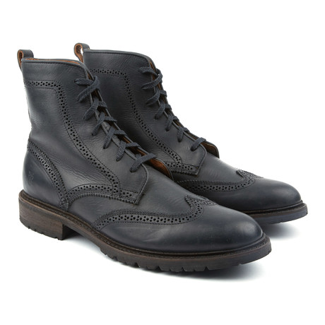 James Lug Wingtip Boot // Black