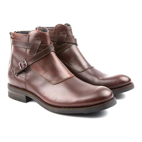 Stone Cross Strap Boot // Dark Brown