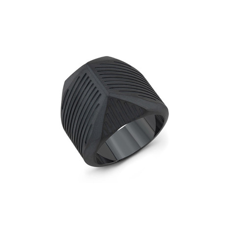 Striped Talon Titanium Ring // Black (Size 10)