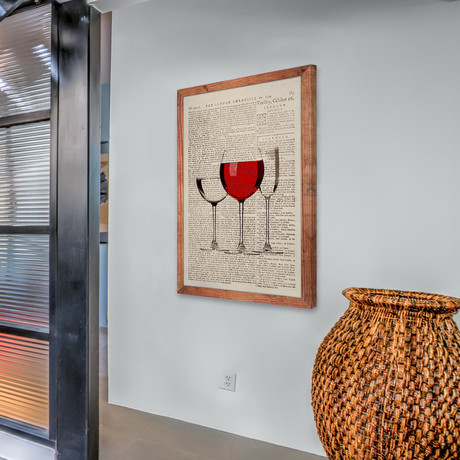 Red Wine Glass // Framed Canvas