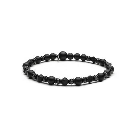 Black Czech Glass Bead Bracelet // Black Onyx Sequence