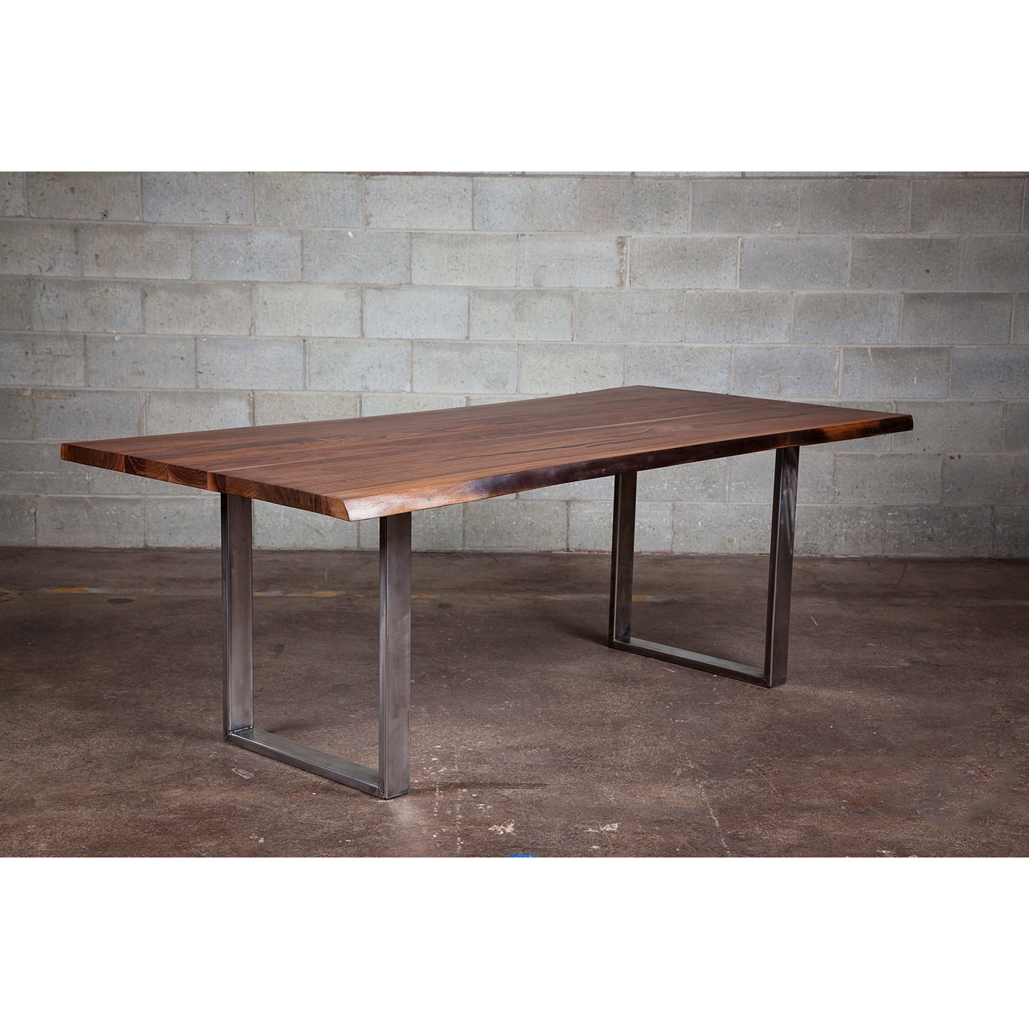 Dining table live edge black walnut steel legs 72 l for Grande table bois
