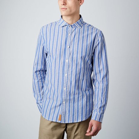 Earnest Spread Collar Button-Up // Blue + White