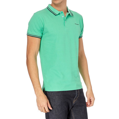 Contrast Stripe Ribbed Polo // Mint
