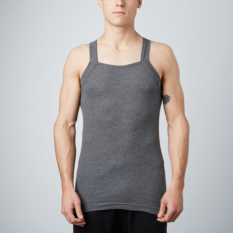 Square Neck Tank // Black + Charcoal + Heather Grey // Pack of 3