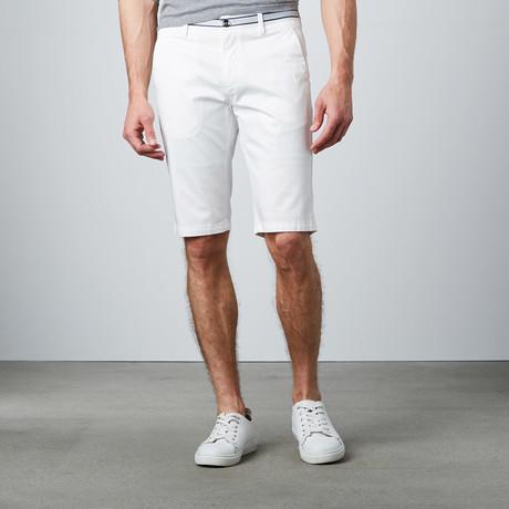 Contrast Trim Dress Shorts // White