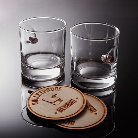 0.45ACP Rocks Glass +Wooden Coaster // Set of 2
