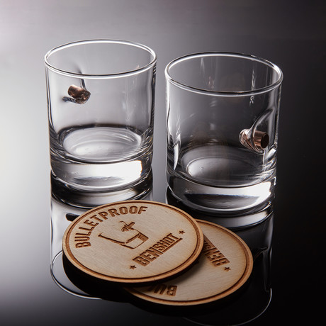 0.45ACP Rocks Glass + Wooden Coaster // Set of 2