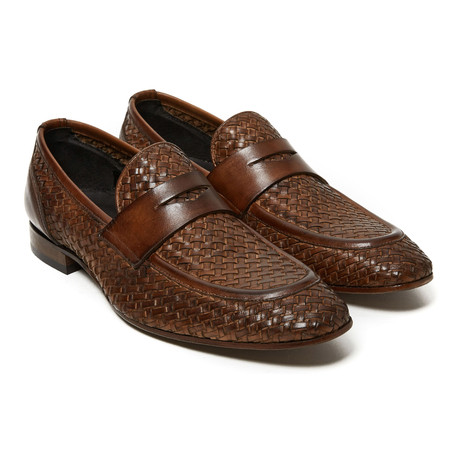 Woven Penny Loafer // Dark Brown