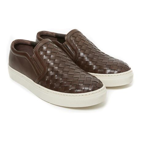 Woven Slip-On Sneaker // Dark Brown