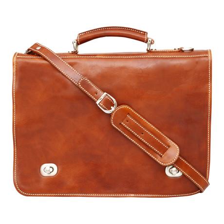 Asti Twist Lock Briefcase // Tan