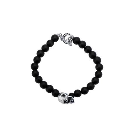 Skull + Onyx Bead Toggle Bracelet // Black