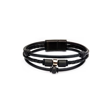 Carbon Graphite Beads + Leather Bracelet // Black