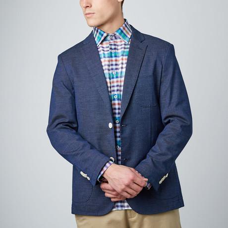 Linen Texture Blazer // Navy