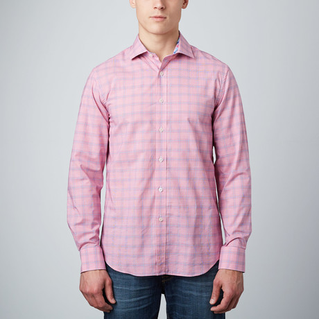 Spread Collar Button-Up Shirt // Pale Red + Blue
