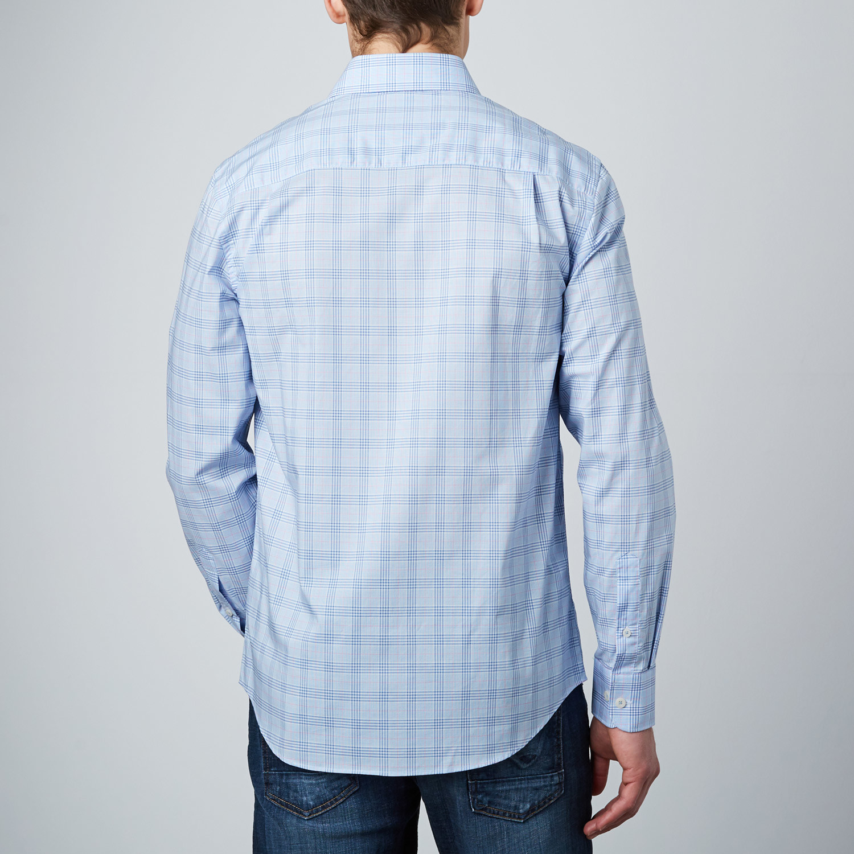 Spread Collar Button Up Shirt Light Blue Navy S