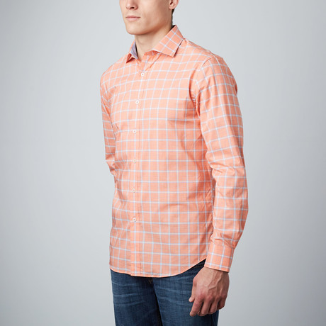 Spread Collar Button-Up Shirt // Coral + Light Blue
