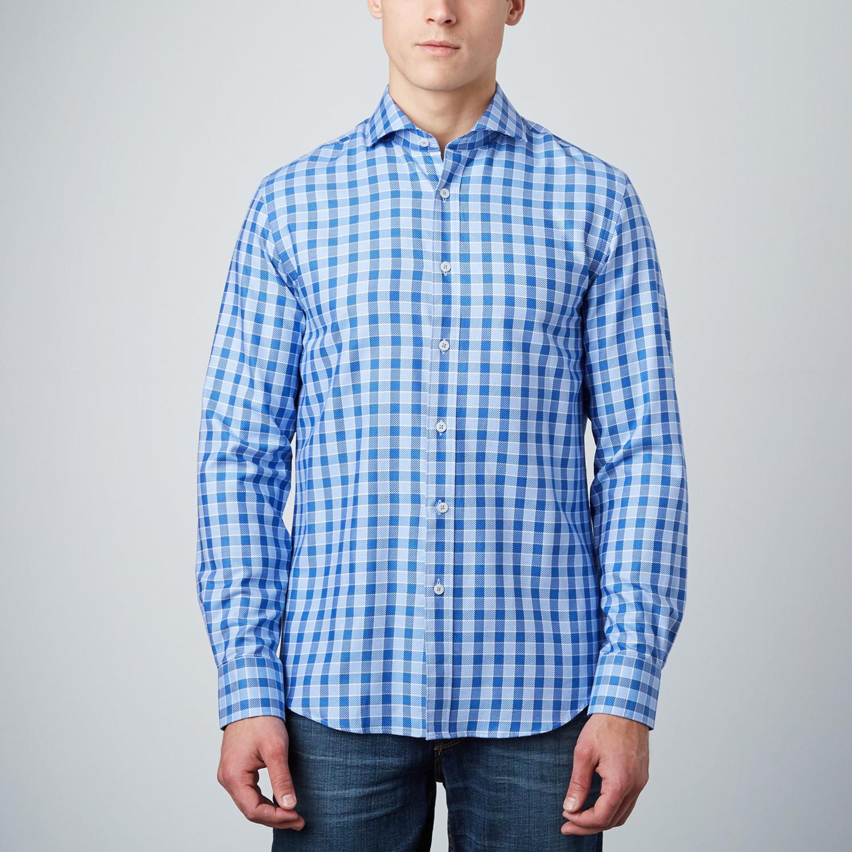 Cutaway Collar Button Up Shirt Blue Navy Xl James