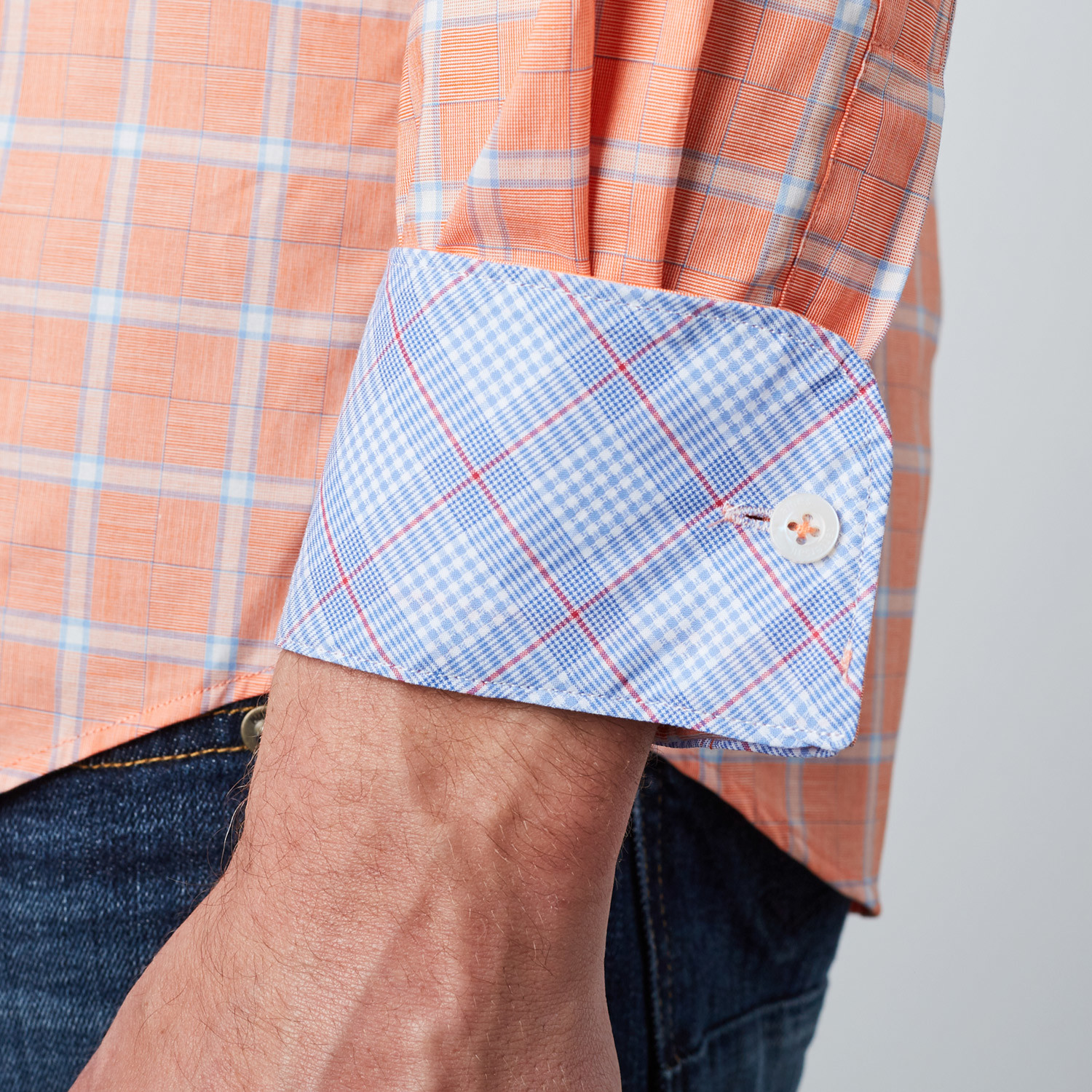 Spread Collar Button-Up Shirt // Coral + Light Blue (S