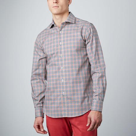 Spread Collar Button-Up Shirt // Black + Navy + Rust