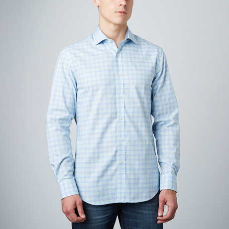 Spread Collar Button-Up Shirt // Aqua + Light Blue