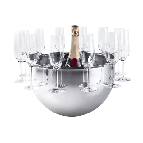 Bottega Champagne Bucket + Removable Flute Support (Stainless Steel)