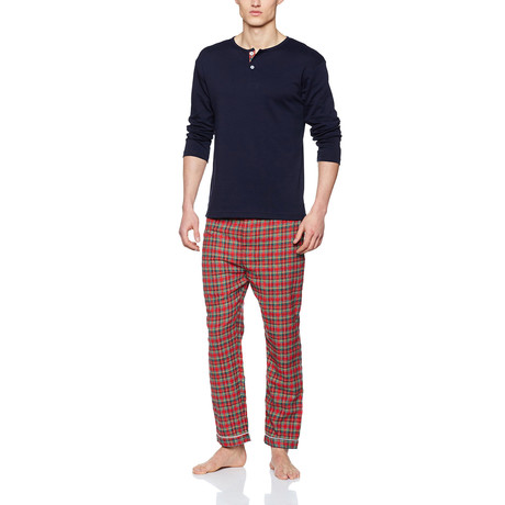 Niccolo Henley Pajama Set // Scottish Red