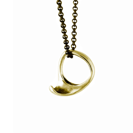 Coro Wave Ring Necklace // Brass