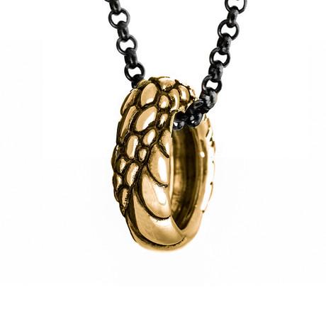 Ouroboros Ring Necklace // Brass