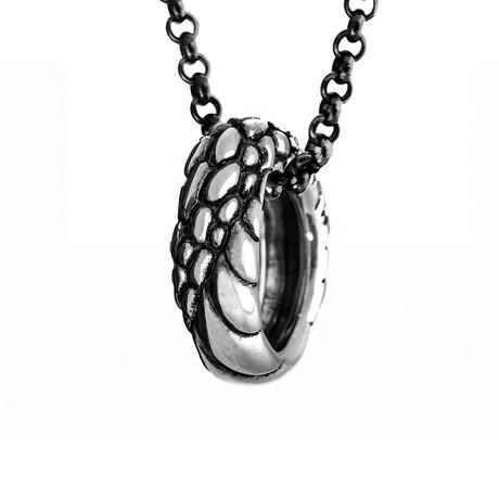 Ouroboros Ring Necklace // Silver