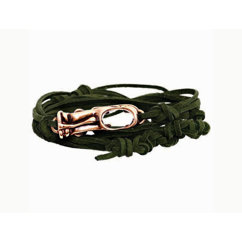 Tasman Tactical Green Leather Tiki Bracelet // Brass ...