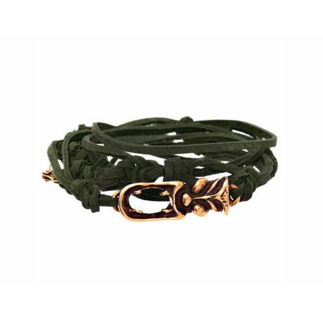 Tasman Tactical Green Leather Tiki Bracelet // Brass