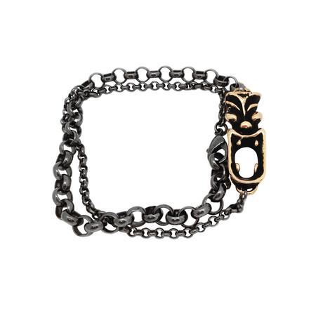 Tasman Tiki Chain Wrap Bracelet // Brass