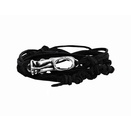 Tasman Black Leather Tiki Bracelet // SIlver