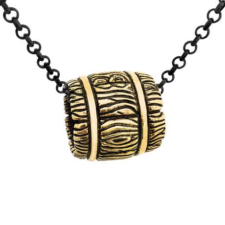 Whiskey Barrel Necklace // Brass