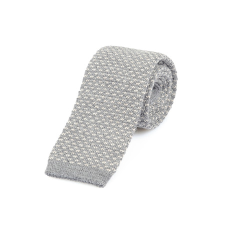 Knitted Straight Dash Tie // Grey + Cream