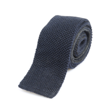 Fine Textured Knit Straight Tie // Navy