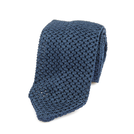 Textured Knit Pointed Straight Tie // Blue