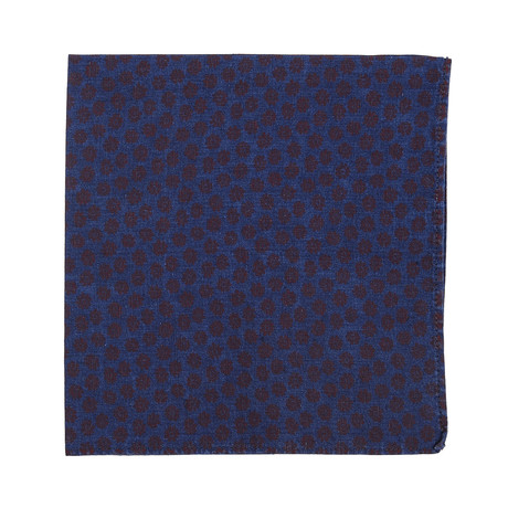 Floral Printed Chambray Pocket Square // Blue + Red